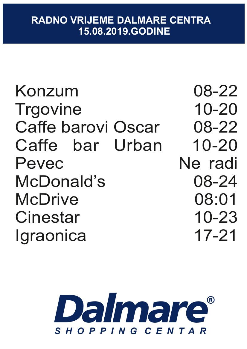 Radno vrijeme 15.8.2019