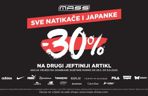 MASS akcija – 30% na drugi jeftiniji par natikača i japanki